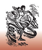 Drawing of Rhythmic Gymnast. A female Rhythmic Gymnast athlete moving with a ribbon royalty free illustration