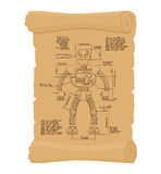 Drawing Robot Ancient scroll. Retro scheme of Technological mach Royalty Free Stock Photos