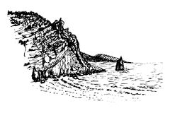 Drawing rock sail ink sketch  illustration Stock Image