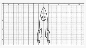 Drawing of the rocket scheme stock video