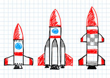 Drawing of rockets Stock Image