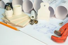 Drawing rolls, construction hardware tools, Stock Photo