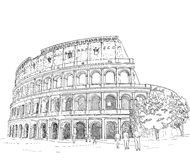 Drawing Roman Colosseum Stock Image