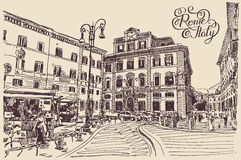 Drawing of Rome Italy famous cityscape with hand lettering inscr Stock Photography