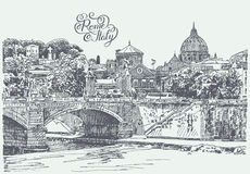 Drawing of Rome Italy famous cityscape with hand lettering inscr Royalty Free Stock Photos