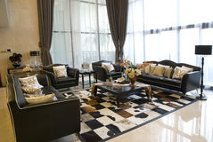 Drawing room. Fashion drawing room with large windows Stock Photo