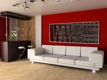 Drawing room. White sofa in a drawing room 3d image Royalty Free Stock Photography