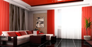 Drawing room. White sofa in a drawing room 3d image Royalty Free Stock Images
