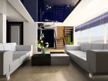 Drawing room. White sofa and stair in a drawing room 3d image Royalty Free Stock Image