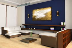 Drawing room. White sofa in a drawing room 3d image Stock Image