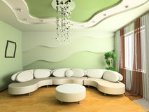 Drawing room. White sofa in a drawing room 3d image Stock Photo