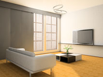Drawing room. White sofa in a drawing room 3d image Stock Images