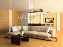 Drawing room. Sofa in a drawing room 3d image Stock Photos