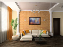 Drawing room. White sofa in a drawing room 3d image Royalty Free Stock Image