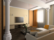 Drawing room. White sofa in a drawing room 3d image Stock Photography