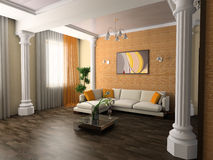 Drawing room. White sofa in a drawing room 3d image Royalty Free Stock Photos