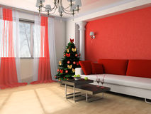 Drawing room. New Year tree in a drawing room Royalty Free Stock Photography