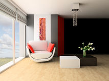 Drawing room. White sofa in a drawing room at a wall Stock Images