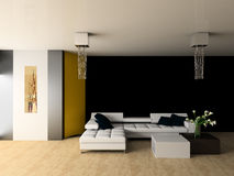 Drawing room. White sofa in a drawing room 3d image Stock Photos