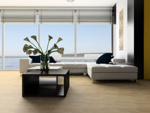Drawing room. White sofa in a drawing room against the big window Royalty Free Stock Photo