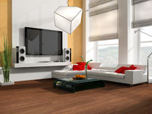 Drawing room. Interior of a modern white drawing tv room 3d Royalty Free Stock Photography