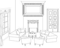 Drawing-room with fireplace. Editable vector furniture. Interior in retro style. Drawing-room. Editable vector illustration of an outline sketch of a interior Stock Photography