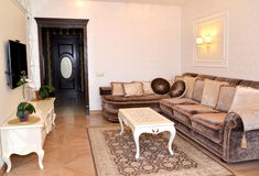 Drawing room interior in light tones, modern classics Stock Photo