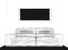 Drawing room. Modern interior, black and white line image Vector Illustration