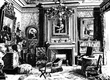Drawing room with pictures, an engraving. Vintage interior drawing room with pictures. Black-and-white hand drawn Royalty Free Stock Photos