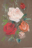 Drawing of roses by pastel. Drawing of roses on brown paper by pastel Royalty Free Stock Photo