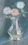 Drawing of roses in a vase by pastel Stock Image