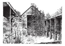 Drawing ruins Catholic Church. Drawing by hand with black ink of the church in Cannellarvi ruins. Restoration of architecture. Catholic Church Royalty Free Illustration