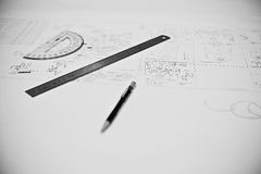 A drawing with ruler and protractor stock photo