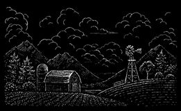 Drawing of rural landscape Stock Image