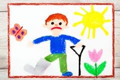 Drawing: Sad boy with broken leg. Photo of colorful drawing: Sad boy with broken leg royalty free illustration
