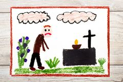 Drawing: Sad man and grave. Stock Image