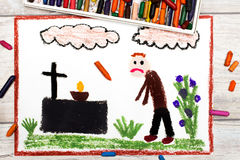 Drawing: Sad man and grave. Royalty Free Stock Photos