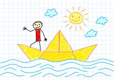 Drawing of sailboat Royalty Free Stock Photo