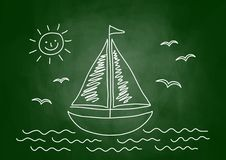 Drawing of sailboat Stock Photography