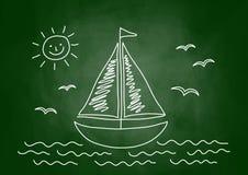 Drawing of sailboat vector illustration