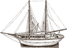 Drawing of a sailing fishing Greek boat. Vector drawing of a small wooden model of a greek fishing boat Stock Photos