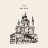 Drawing of Saint Andrew orthodox church by Rastrelli in Kyiv Ki Stock Photo