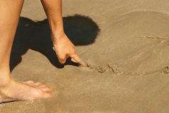 Drawing in sand Stock Photography