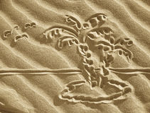 Drawing on sand - small island stock photography