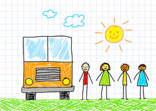 Drawing of school bus Royalty Free Stock Images