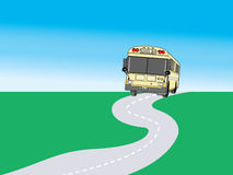 Drawing School bus. On the road Stock Images