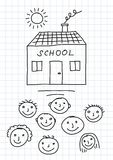 Drawing of school and children Royalty Free Stock Photos