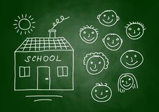Drawing of school and children Royalty Free Stock Photography