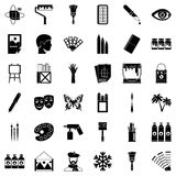 Drawing school icons set, simple style. Drawing school icons set. Simple set of 36 drawing school vector icons for web isolated on white background Stock Photo