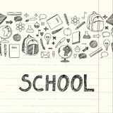 Drawing school items. Drawn icons for school royalty free illustration